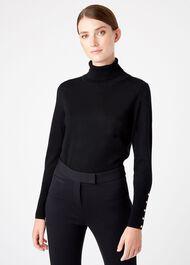 Lara Merino Wool Rib Roll Neck, Black, hi-res