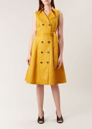 Sabina Linen Dress, Golden Yellow, hi-res