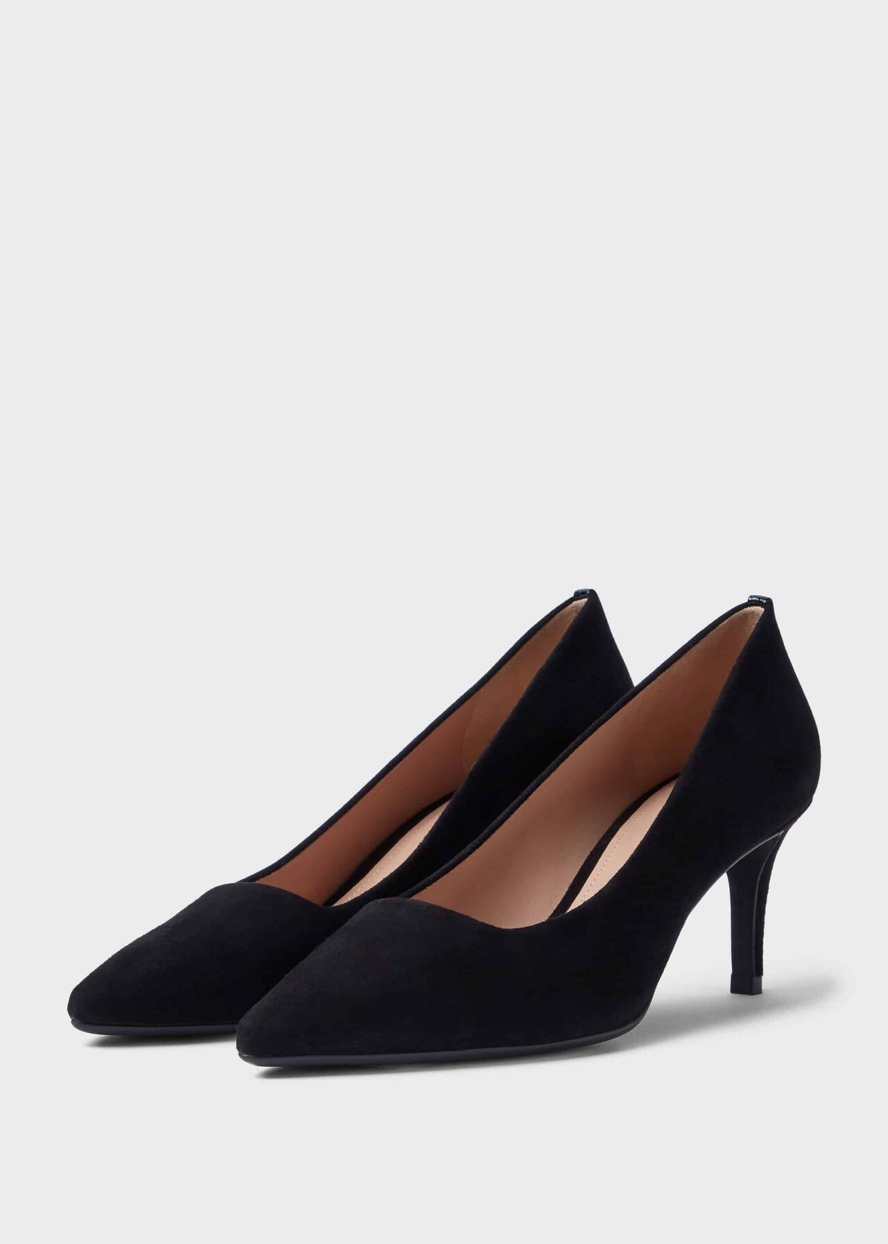 Amy Suede Court Shoes Black