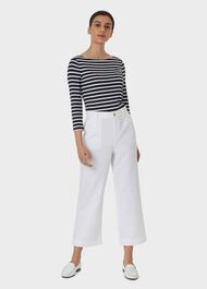 Luzia Wide Leg trousers With Linen, White, hi-res