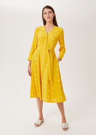 Talia Spot Dress, Yellow Ivory, hi-res