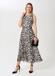 Petite Carly Printed Midi Dress, Ivory Black, hi-res