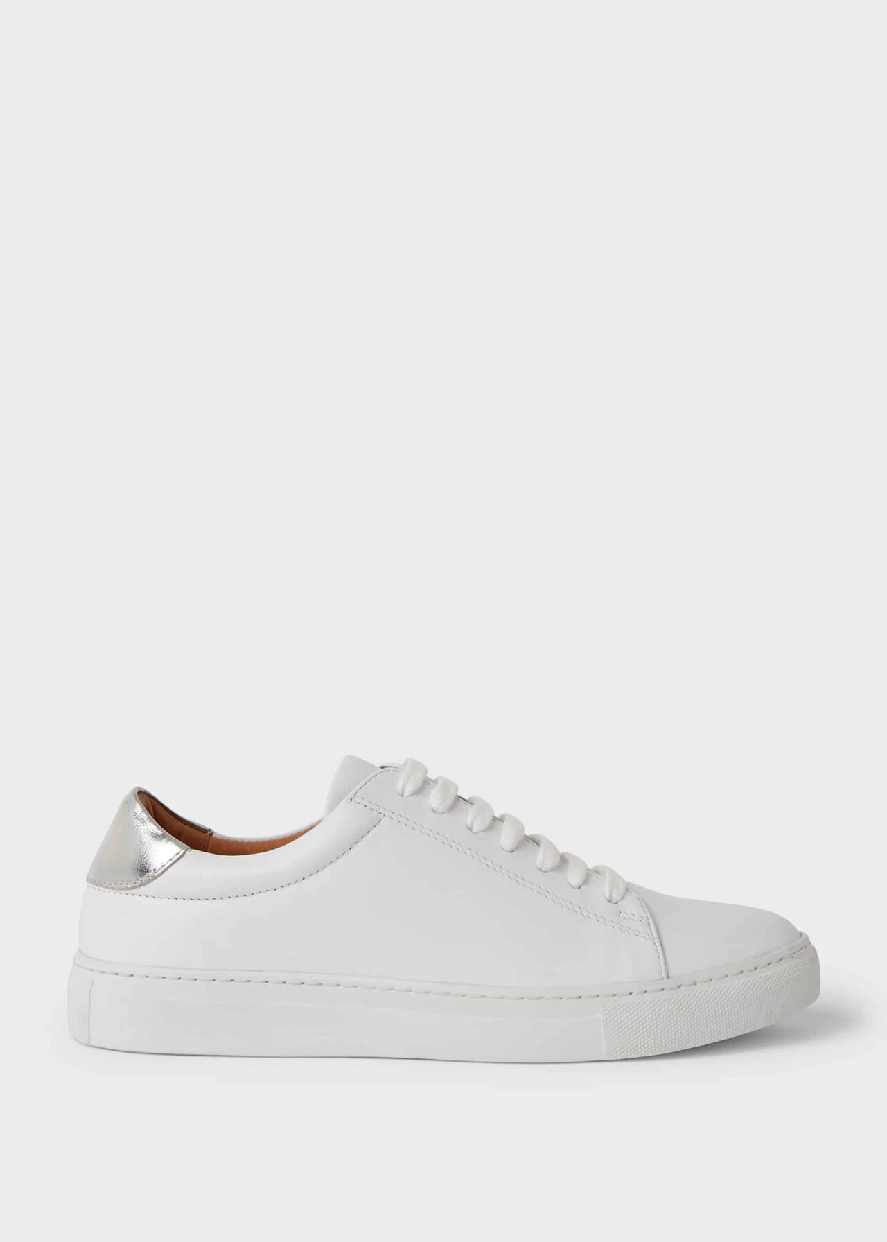 Hollie Leather Trainers, White, hi-res