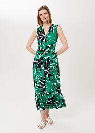 Petite Laurenza Printed Midi Dress, Green Multi, hi-res