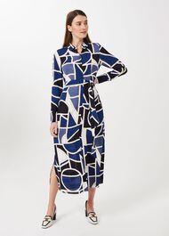 Petite Nadine Geo Midi Dress, Blue Multi, hi-res