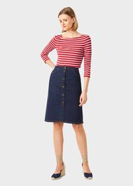 Sonya Striped Top, Red Ivory, hi-res
