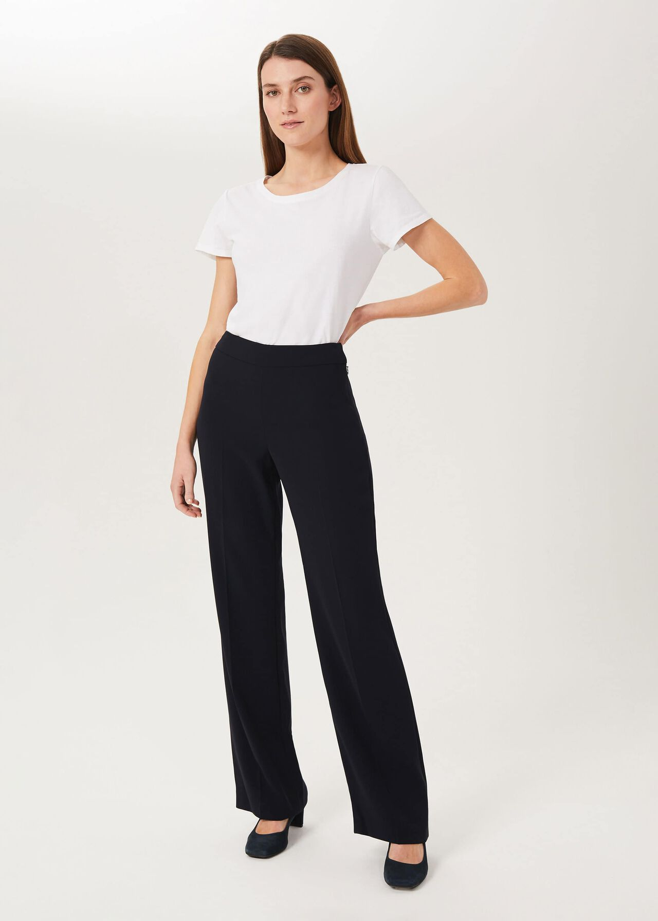 Maya Wide trousers, Navy, hi-res