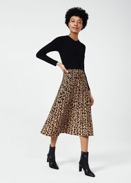 Harlie Knitted Dress, Black Camel, hi-res