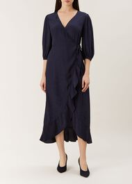 Sara Wrap Dress, Midnight, hi-res