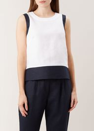 Halle Linen Top, White Navy, hi-res