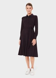 Lucinda Spot Dress, Navy Merlot, hi-res