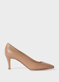 Elouise Leather Stiletto Court Shoes, Toasted Almond, hi-res