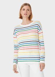 Rainbow Linen Cotton Stripe Jumper, Multi, hi-res