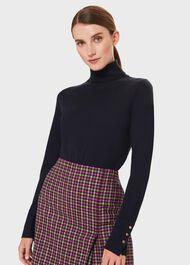 Lara Merino Wool Roll Neck Sweater, Navy, hi-res