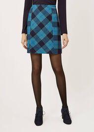 Hattie Wool Skirt, Blue Multi, hi-res