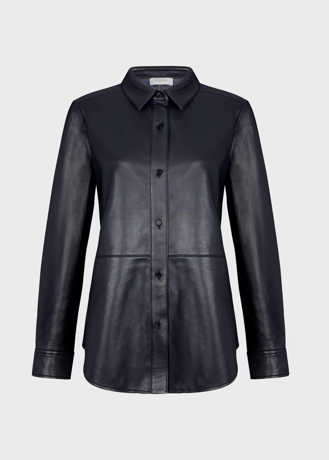 Tia Leather Shirt Navy