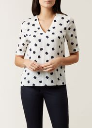 Natalia Top, Ivory Navy, hi-res
