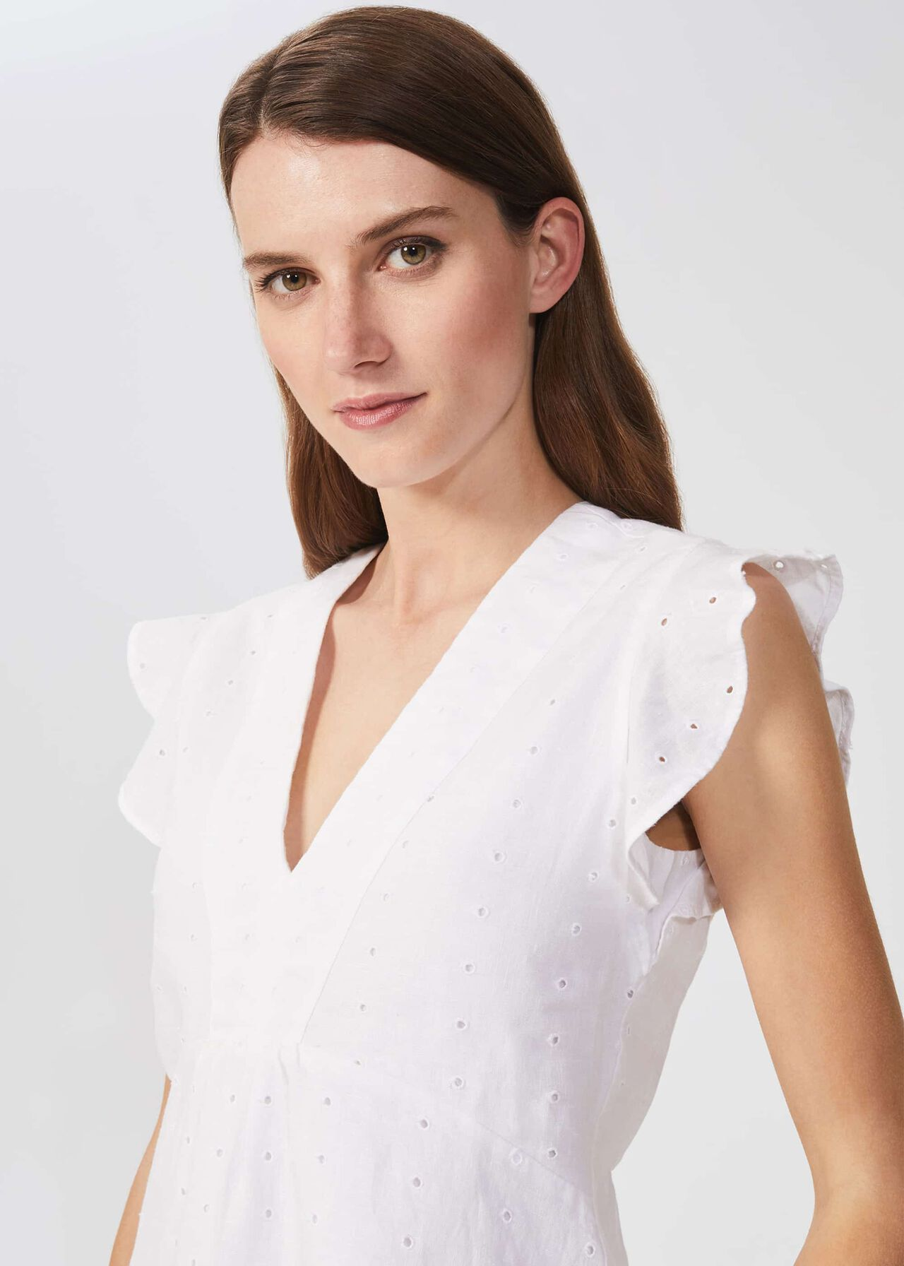 Avia Linen Embroidered Top, White, hi-res