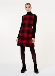 Daphne Wool Dress, Red Black, hi-res
