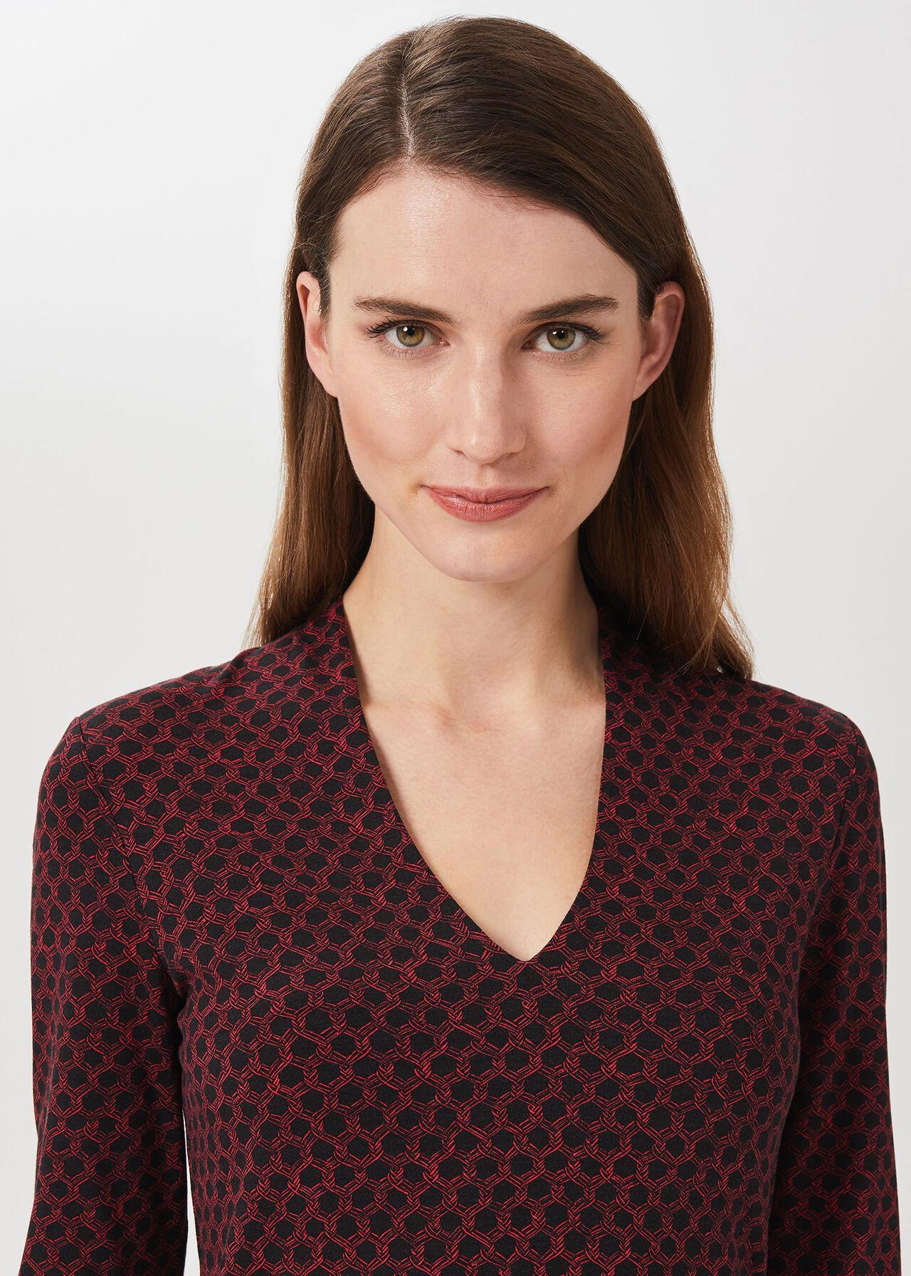 Aimee Printed Top, Navy Red, hi-res