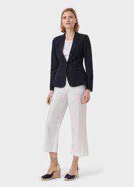 Petite Trent Silk Linen Jacket, Navy, hi-res
