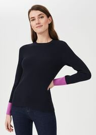 Victoria Colourblock Jumper, Navy Pink, hi-res