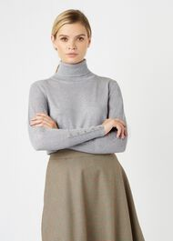 Lara Roll Merino Wool Neck, Grey Melange, hi-res