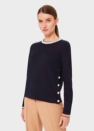 Elsie Merino Wool Colourblock Jumper, Navy Multi, hi-res