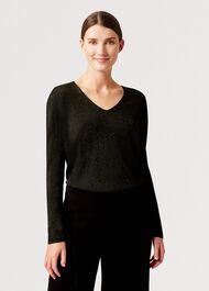 Mae Sparkle Sweater, Dark Green, hi-res