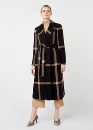 Florina Wool Blend Coat, Black Camel, hi-res
