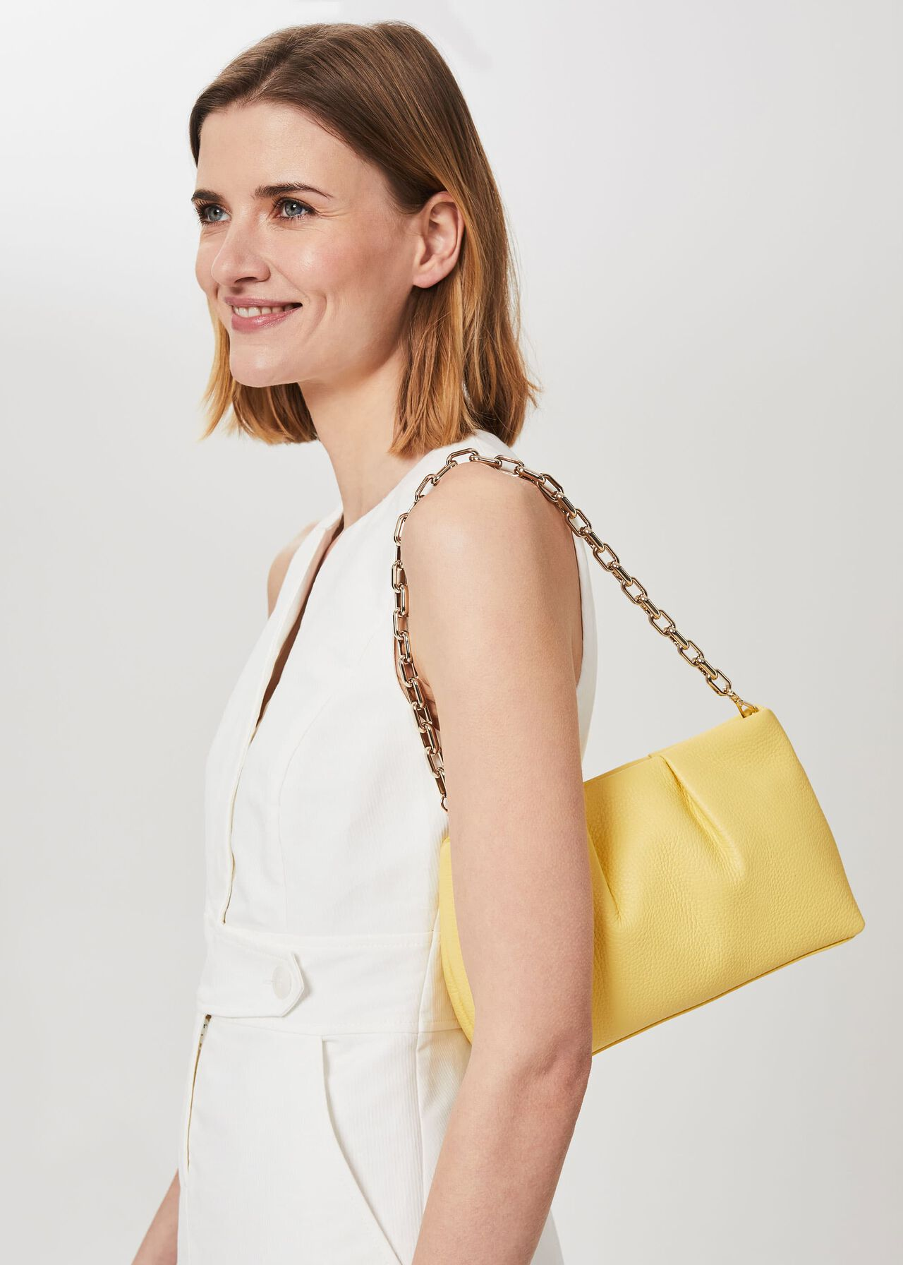 Clifton Leather Clutch Bag, Yellow, hi-res