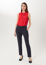 Leila Slim Trousers With Stretch, Navy, hi-res