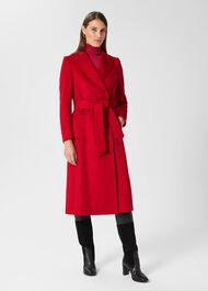 Olivia Wool Wrap Coat, Red, hi-res