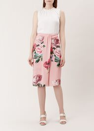Emery Silk Skirt, Pink, hi-res