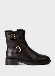 Phillipa Leather Ankle Boots, Black, hi-res