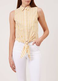 Thora Gingham Shirt, Yellow White, hi-res