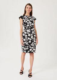 Sophia Floral Shift Dress, Black Ivory, hi-res