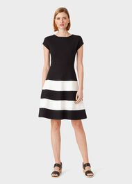 Lizzie Jersey Colourblock Dress, Black Ivory, hi-res