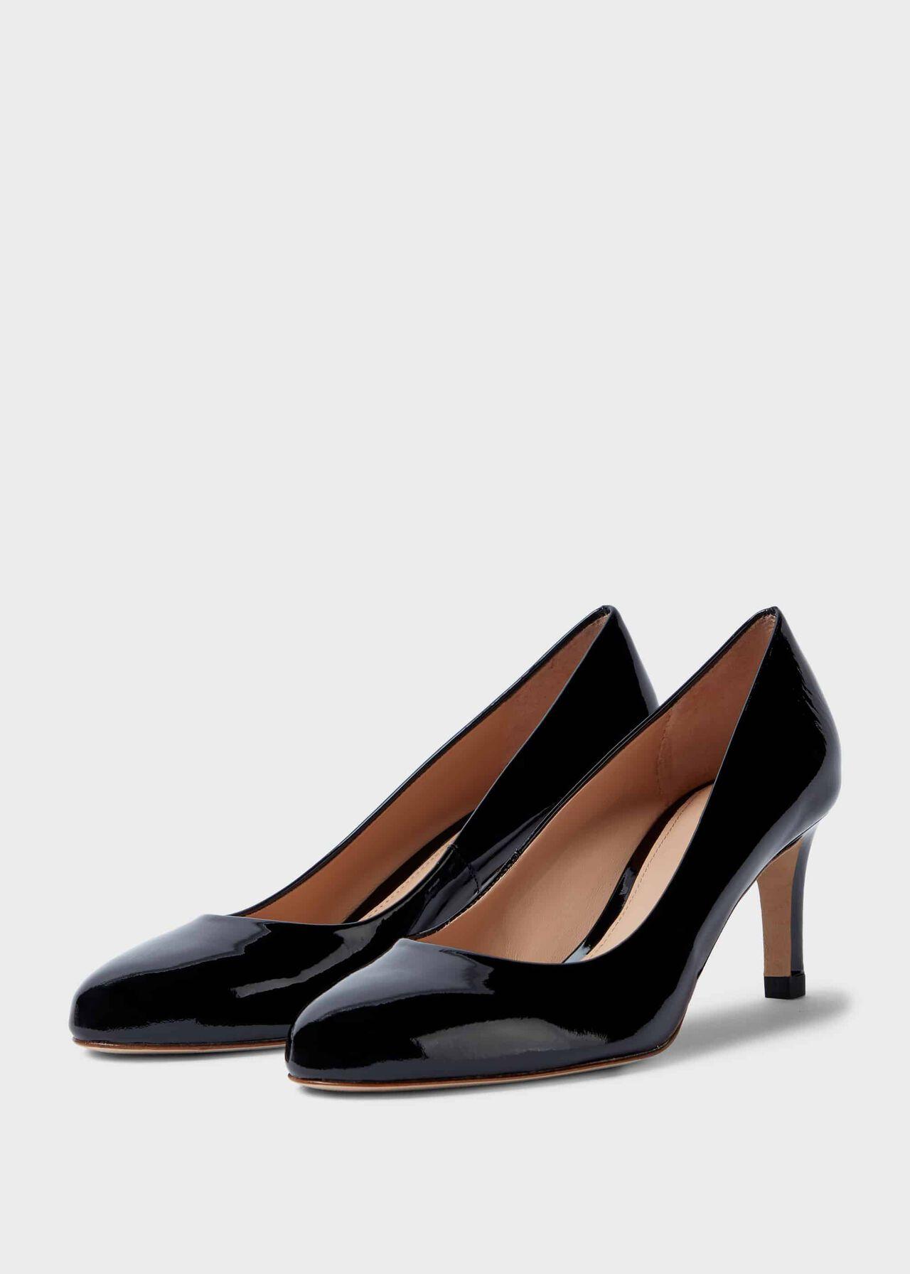 Lizzie Patent Stiletto Court Shoes Black