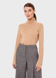Lara Merino Wool Roll Neck Sweater, Camel, hi-res