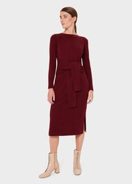 Teagan Knitted Dress With Cashmere, Merlot, hi-res