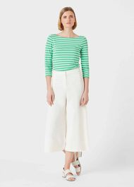 Sonya Stripe Top, Green Ivory, hi-res