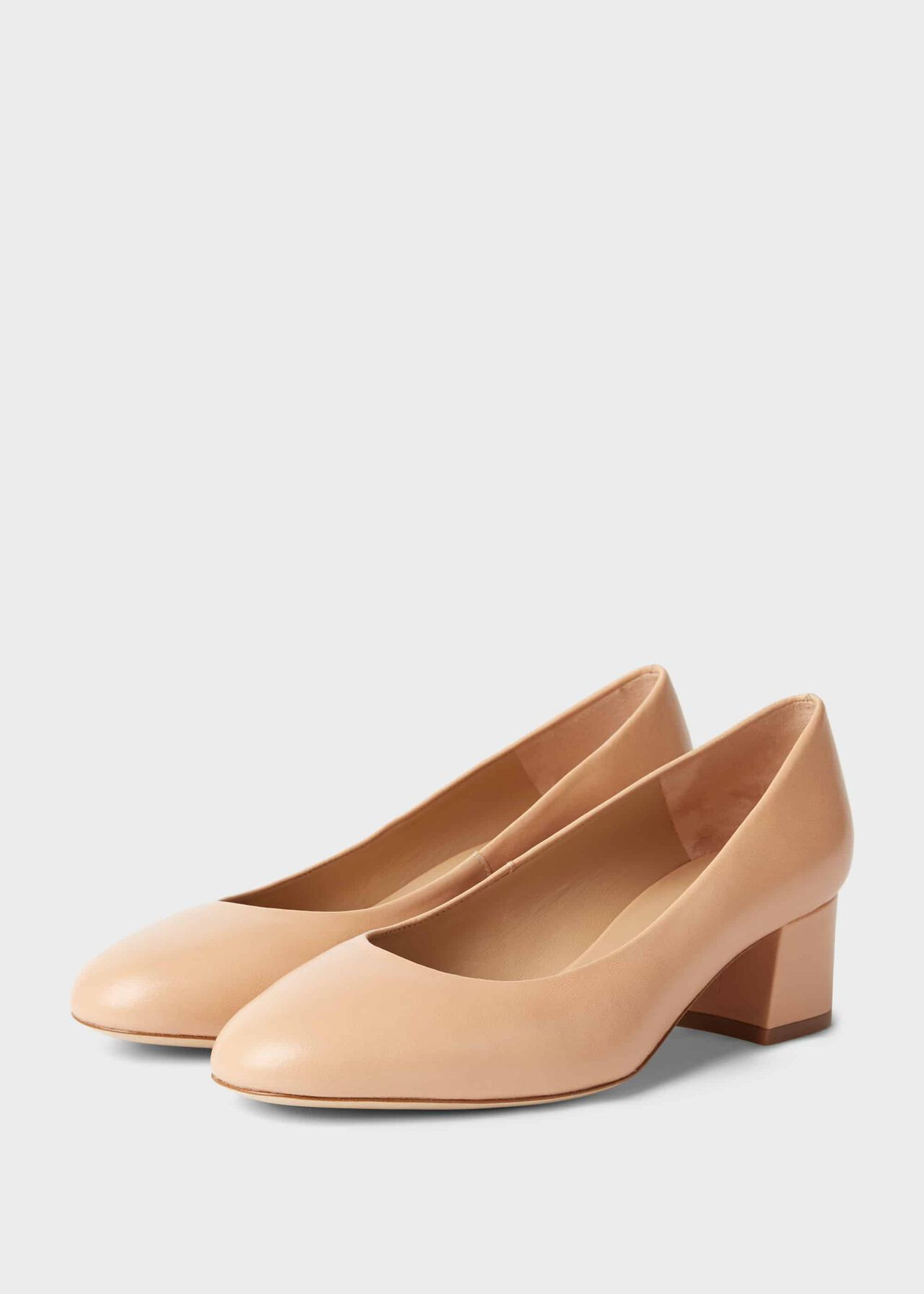Natalie Wide Fit Leather Block Heel Court Shoes Nude