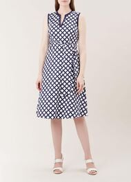 Bettie Dress, Navy White, hi-res