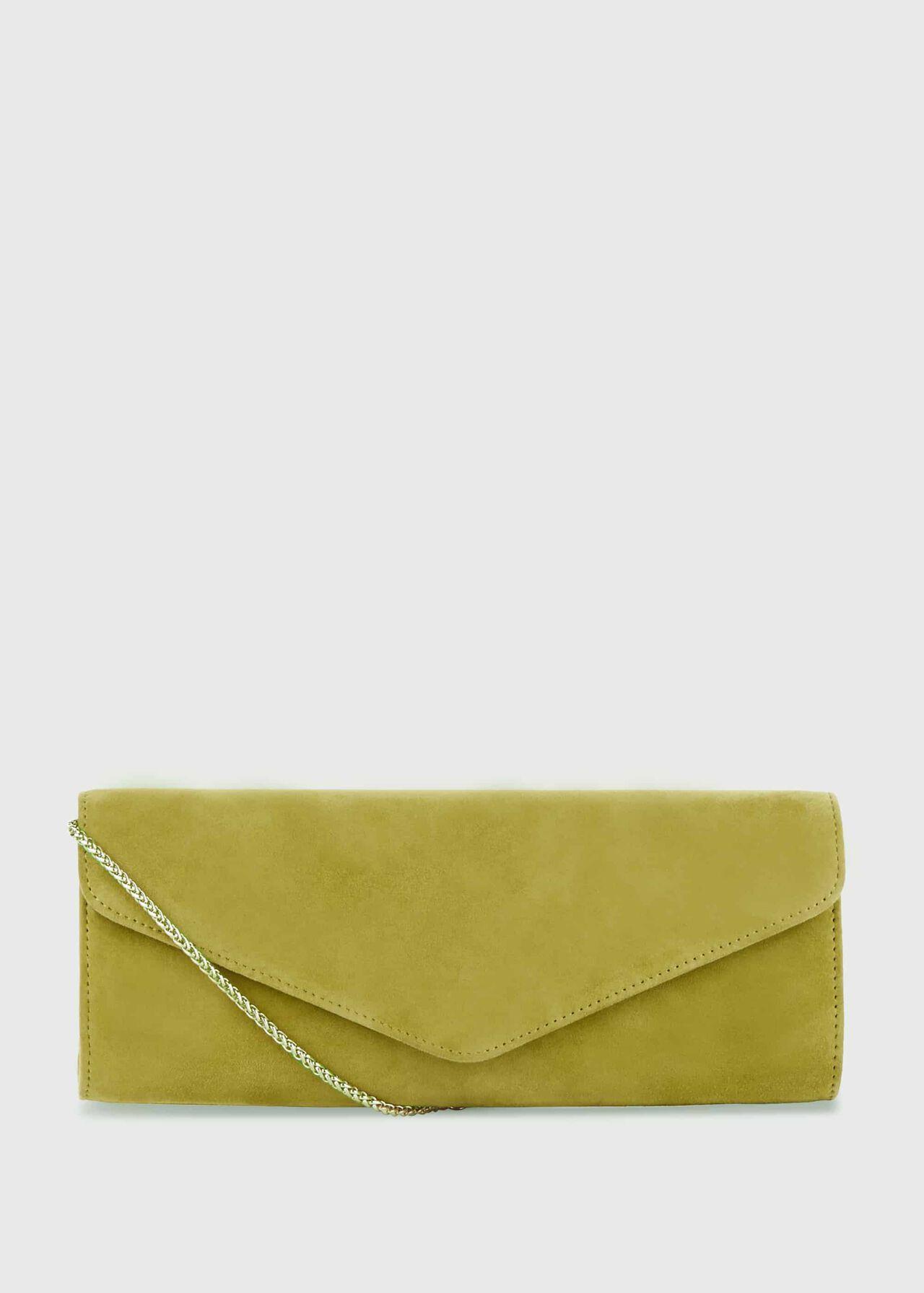 Evie Suede Clutch Bag Leaf Green