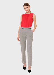 Sienna Houndstooth Slim trousers With Stretch, Ivory Black, hi-res
