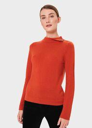 Talia Wool Cashmere Sweater, Burnt Orange, hi-res
