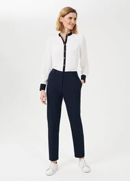 Petite Quin Tapered Trousers With Stretch, Navy, hi-res