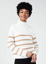 Fearne Wool Blend Stripe Sweater, Camel Ivory, hi-res