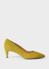 Polly Suede Kitten Heel Court Shoes, Citron, hi-res
